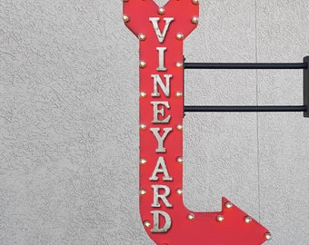 """On Sale! 48"""" VINEYARD Metal Arrow Sign - Wine Bar Tasting Winery Champagne Drink - Double Sided Hang or Suspend - Rustic Marquee Light Up"""