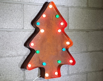 "On Sale! 22"" Large Metal Christmas Tree - Plugin - Trees Happy Holidays Santa Nostalgic Rustic Marquee Light Up Sign Vintage Cookie Cutter"