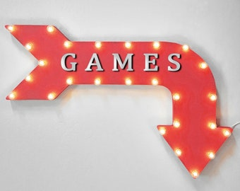 "On Sale! 36"" GAMES Metal Arrow Sign - Plugin, Battery or Solar - Ready Set Go Video Lets Play Compete Contest - Rustic Marquee Light Up"