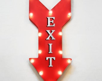 "On Sale! 24"" EXIT Straight Metal Arrow Sign - Open Welcome Closed Leave Out In - Rustic Vintage Marquee Light Up"
