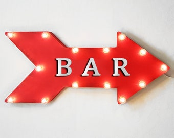 """On Sale! 24"""" BAR Straight Arrow Sign - Pub Drinks Alcohol Beer Wine Cocktails Martini - Rustic Vintage Marquee Light Up"""