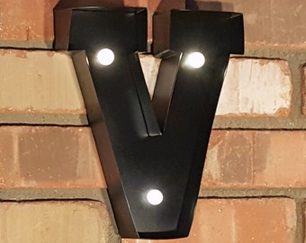 "ON SALE 9"" Letter V - Battery Operated Metal Marquee Sign LED Light with Extra Bulbs. Batteries Included! Black"