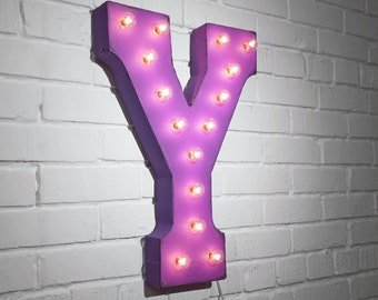 """ON SALE! 21"""" Metal Letter Y - Plugin, Battery Operated or Solar Powered - Rustic Nostalgic Vintage Style - Light Up Marquee Letter Sign."""