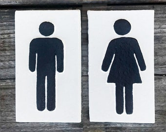 On Sale! - SET OF 2 - Ladies Mens Symbol Metal Vintage Antique Style Restroom Bathroom Solid Iron Door Sign Plaque!