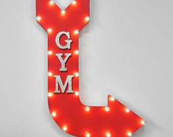 "ON SALE! 36"" GYM Weights Health Club Workout Fitness Trainers Double Sided Hanging Suspended Hang Rustic Metal Marquee Light Up Sign Arrow"