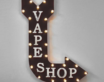 "On Sale! 36"" VAPE SHOP Metal Arrow Sign - Plugin or Battery Operated - Bar Lounge Smoking Hookah Vaping - Rustic Marquee Light up"