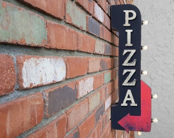 """On Sale! 30"""" PIZZA Metal Arrow Sign - Plugin or Battery Operated - Pizzeria Italian Restaurant Chow - Double Sided Rustic Marquee Light Up"""