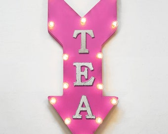"On Sale! 24"" TEA Straight Arrow Sign - Green Black White Steep Sip Coffee Cafe Bakery Party - Rustic Vintage Marquee Light Up"