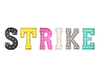 "On Sale! 21"" STRIKE Metal Sign - Bowling Alley Pins Free Standing or Hang - Rustic Vintage Style Marquee Light Up Letters"