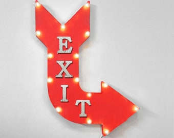 "On Sale! 24"" EXIT Curved Metal Arrow Sign - Store Shop Leave Welcome Here - Rustic Vintage Marquee Light Up"