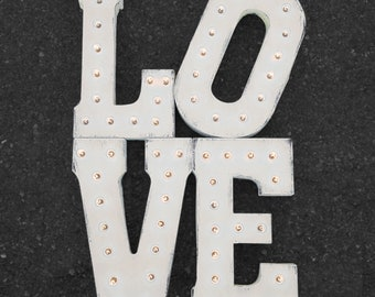 "On Sale! 42"" LOVE Metal Sign - Vintage Love Eternity Wedding Prop Just Married - Rustic Vintage Style Marquee Light Up Letters"
