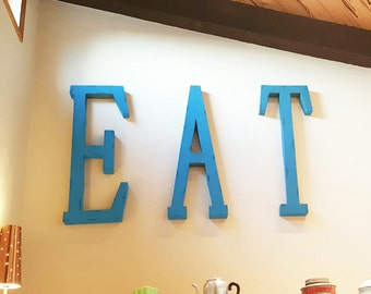 "On Sale! 40"" EAT Metal Sign - Restaurant Cafe Diner Food Eatery Yum - Rustic Vintage Inspired Marquee Style"
