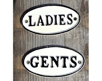 On Sale! - 2 Sign Set - LADIES GENTS Metal Vintage Antique Style Restroom Bathroom Gentlemen Solid Iron Door Sign Plaque