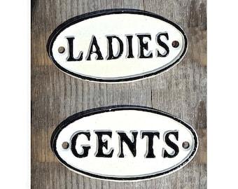 On Sale - 2 Signs Set - LADIES GENTS Metal Vintage Antique Style Restroom Bathroom Gentlemen Solid Iron Door Sign Plaque - 4 color options!