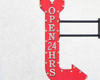 """On Sale! 48"""" OPEN 24 HRS Metal Arrow Sign - Hours Come In Enter Here This Way - Double Sided Hang or Suspend - Rustic Marquee Light Up"""