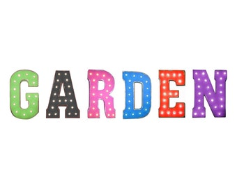 """On Sale! 21"""" GARDEN Metal Sign - Plugin, Battery or Solar - Flowers Plants Vegetable Plant - Rustic Vintage Style Marquee Light Up Letters"""