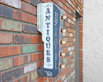 ON SALE! Plug-In or Battery. ANTIQUES Farmers Flea Market Double Sided Metal Vintage Style Rustic Antique Marquee Light Up SIgn