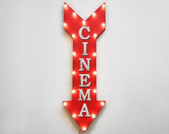 "On Sale! 36"" CINEMA Metal Arrow Sign - Plugin or Battery Operated Led - Movie Local Theater Play Theater Theatre - Rustic Marquee Light up"