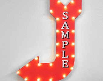 "On Sale! 36"" SOUTH Metal Arrow Sign - Plugin or Battery Operated - Hiking Trail Camp North East West Direction - Rustic Marquee Light up"