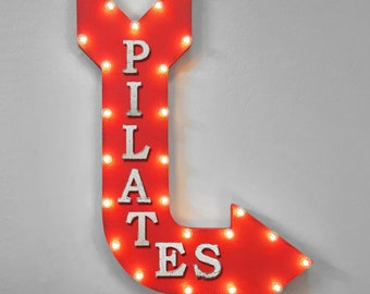 "On Sale! 36"" PILATES Metal Arrow Sign - Plugin or Battery Operated - Exercise Gym Class Workout Lift Sweat - Rustic Marquee Light up"