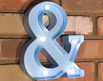 """On Sale! 9"""" Ampersand Symbol & Battery Operated Metal Marquee Sign LED Light. Extra Bulbs. Batteries Included! Light Blue"""
