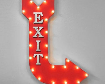 """On Sale! 36"""" EXIT Metal Arrow Sign - Plugin or Battery Operated - Leave Here This Way Out Door - Rustic Marquee Light up"""