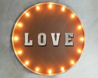 """On Sale! 30"""" LOVE Round Metal Sign - Plugin or Battery Operated - Marriage Eternity Forever Couple Peace - Rustic Vintage Marquee Light Up"""