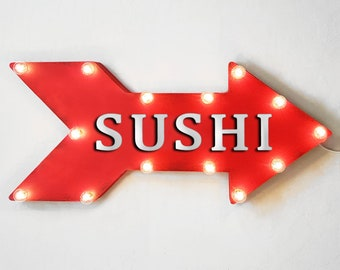 """On Sale! 24"""" SUSHI Straight Metal Arrow Sign - Chopsticks Soy Sauce Seafood Fish Rice Salmon Rolls - Rustic Vintage Marquee Light Up"""