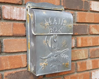 ON SALE! Charming Embossed Bird Metal Vintage Antique Style Rustic US Mail Legal Post Letter Mailbox Box.