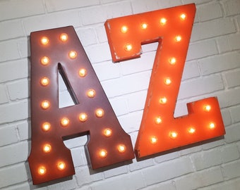 ON SALE! AZ Arizona State Phoenix Abbreviation Free Standing or Hang. Rustic Metal Vintage Style Marquee Sign Light Up Letters 24 Colors