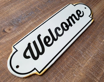 On Sale! - WELCOME Metal Vintage Antique Porcelain Style Open Enter Entrance Come In Door Sign Plaque