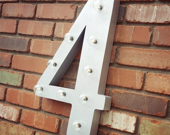 ON SALE! Battery Operated Number 4 Four. 21 Color Options! Hang or Free Stand. Rustic Metal Marquee Led Light Up Sign. 0 1 2 3 4 5 6 7 8 9