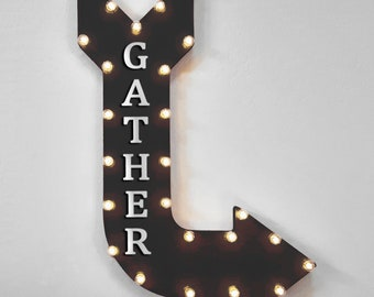 """On Sale! 36"""" GATHER Metal Arrow Sign - Plugin, Battery or Solar - Dinner Party Family Friends Holidays Together - Rustic Marquee Light Up"""