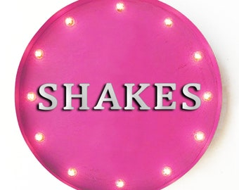 """On Sale! 20"""" SHAKES Round Metal Sign - Plugin, Battery or Solar - Sweets Treats Ice Cream Frozen - Rustic Vintage Marquee Light Up Sign"""