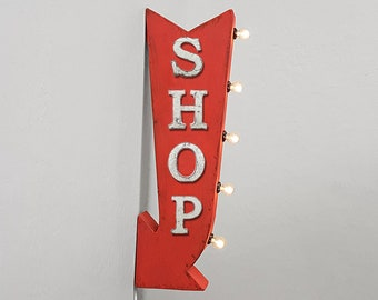 """On Sale! 25"""" SHOP Metal Arrow Sign - Plugin or Battery Operated - Shops Store Buy Sale Discount - Double Sided Rustic Marquee Light Up"""
