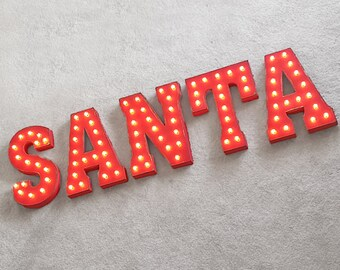 ON SALE! SANTA Christmas Joy Noel Holiday Xmas Free Standing or Hang. Rustic Metal Vintage Style Marquee Sign Light Up Letters. 24 Colors.