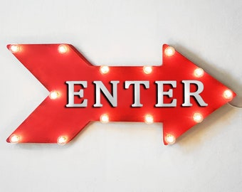 "On Sale! 24"" ENTER Straight Metal Arrow Sign - Store Shop Come In Welcome Here - Rustic Vintage Marquee Light Up"