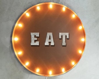 "On Sale! 30"" EAT Round Metal Sign - Plugin or Battery Operated - Food Cafe Restaurant Bakery Drink - Rustic Vintage Marquee Light Up"