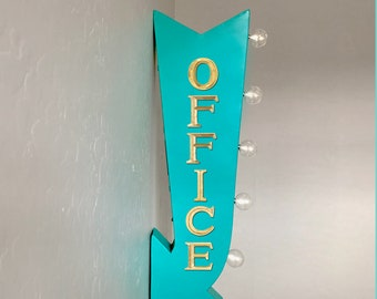 "On Sale! 25"" OFFICE Space Work Workspace Reception Plugin Battery Operated Rustic led Double Sided Rustic Metal Arrow Marquee Light Up Sign"