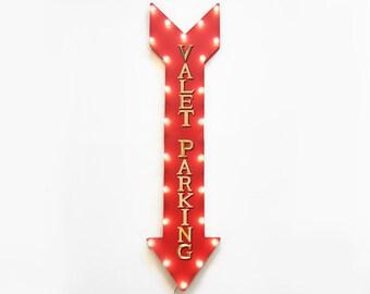 "On SALE! 48"" VALET PARKING ValetPark Garage Restaurant 48"" Plugin or Battery Operated led Rustic Metal Light Up Arrow Marquee Sign"