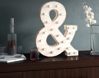 "On Sale! 21"" Ampersand & Symbol Metal Sign - Rustic Vintage Style Custom Marquee Light Up Alphabet Letters"