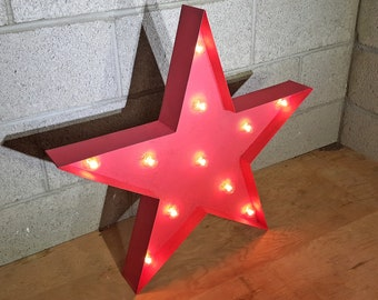 ON SALE! Large Christmas STAR Battery Operated Led Nostalgic Rustic Metal Marquee Happy Holidays Light Up Sign Vintage Cookie Cutter Shape!