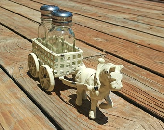 ON SALE Horse and Buggy Wagon Carriage Rustic Vintage Style Cottage Chic Farmhouse Cast Iron Salt & Pepper Shaker