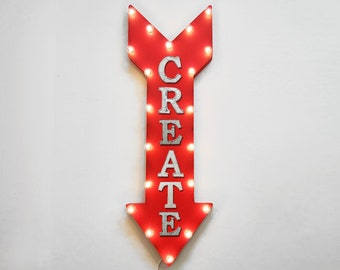 "On Sale! 36"" CREATE Metal Arrow Sign - Plugin or Battery Operated Led - Craft Art Sewing Design Build - Rustic Marquee Light up"
