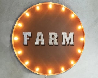 "On Sale! 30"" FARM Round Metal Sign - Plugin or Battery Operated - House Heart Live Living Barn Welcome - Rustic Vintage Marquee Light Up"