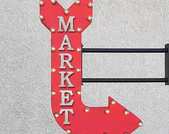 "On Sale! 36"" MARKET Metal Arrow Sign - Convenient Grocer Grocery Store Shop Sale - Double Sided Hang or Suspend - Rustic Marquee Light Up"