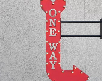 """On Sale! 48"""" ONE WAY Metal Arrow Sign - Enter Here Only Caution Traffic Directions - Double Sided Hang or Suspend - Rustic Marquee Light Up"""