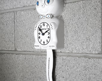 Limited Edition! Official WHITE Kit Cat Clock - Gentlemen Gentleman Male Boy - Jeweled Swarovski Crystals Kit Kat Cat Clock Klock