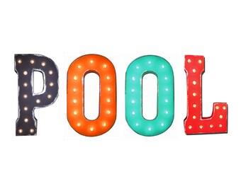 "On Sale! 21"" POOL Metal Sign - Plugin, Battery or Solar - Swimming Splash Water Lake Ocean Swim - Rustic Vintage Marquee Light Up Letters"