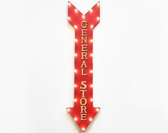 """On Sale! 48"""" GENERAL STORE Shop Market Local Drugs Grocer Plugin Battery Operated led Rustic Metal Light Up Arrow Marquee Sign"""